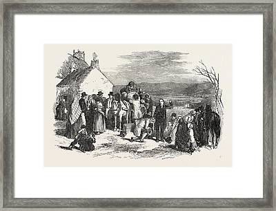 Irish Emigrants Leaving Home, The Priests Blessing Framed Print