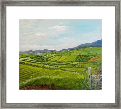 Framed Print featuring the painting Irish Fields - Landscape by Sandra Nardone