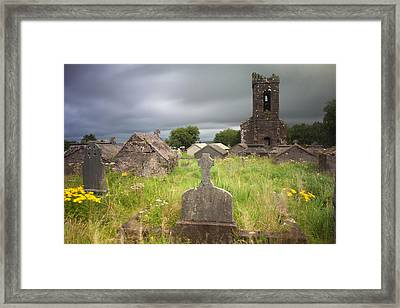 Irish Graveyard Cemetary Dark Clouds Framed Print by Dirk Ercken