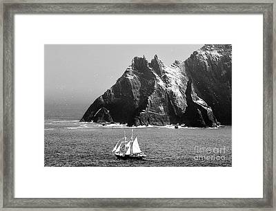 Irish Navy Sail Training Ship Asgard Passes The Skelligs Off Kerry Ireland Framed Print