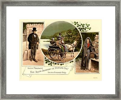 Irish Peasants And A Jaunting Car Framed Print by Vintage Image