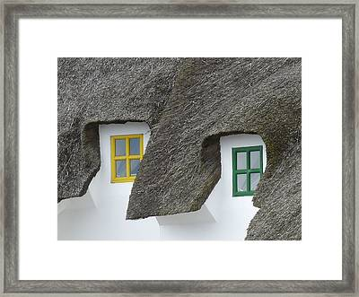 Irish Thatch Cottage Colored Windows Framed Print