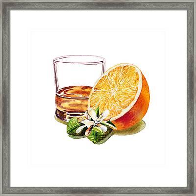 Irish Whiskey And Orange Framed Print by Irina Sztukowski