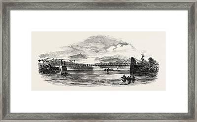 Iron Bridge Built Across The Martha Brae River Framed Print