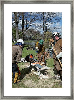 Iron Casting At Arts Fair Framed Print by Jim West