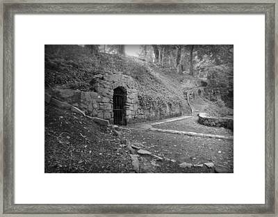Iron Door In A Garden Framed Print