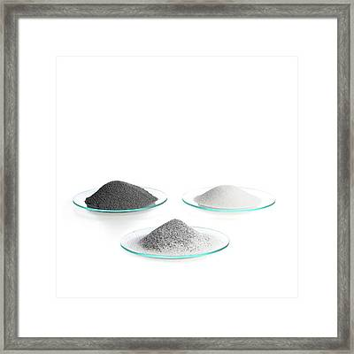 Iron Filings And Sand Framed Print by Science Photo Library