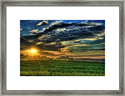 Iron Horse Sunrise Young Corn And Silos Framed Print