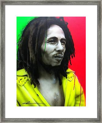 Bob Marley - ' Iron Like A Lion In Zion ' Framed Print by Christian Chapman Art