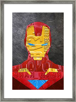 Iron Man Superhero Vintage Recycled License Plate Art Portrait Framed Print