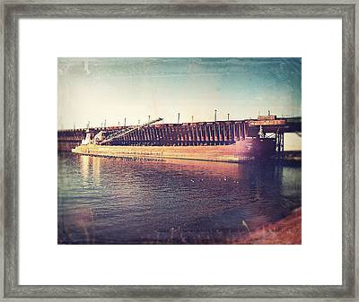 Iron Ore Freighter In Dock Framed Print