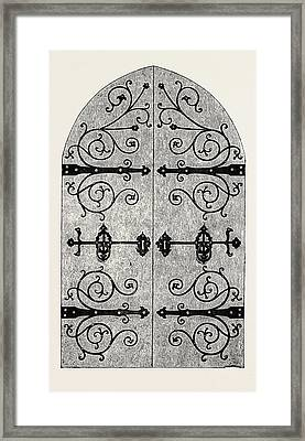 Iron Scroll-work For Door Framed Print by Gidney, English, 19th Century