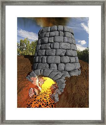 Iron-smelting Furnace, Artwork Framed Print by Science Photo Library
