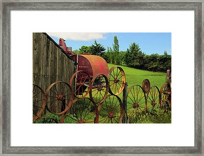 Iron Wheels, Dahmen Barn, Uniontown Framed Print by Michel Hersen