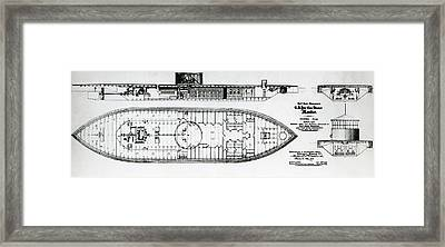 Ironclad Warship Uss Monitor Framed Print