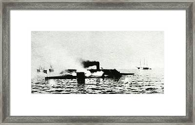 Ironclad Warships In Combat Framed Print