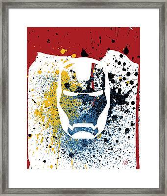 Ironman Goes Splat Framed Print by Decorative Arts