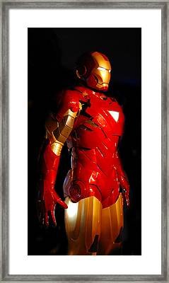 Ironman On Black Background Framed Print by Gina Dsgn