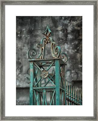 Ironwork In The Quarter Framed Print by Brenda Bryant