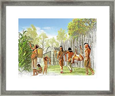 Iroquois Settlement Framed Print by Jose Antonio Pe�as