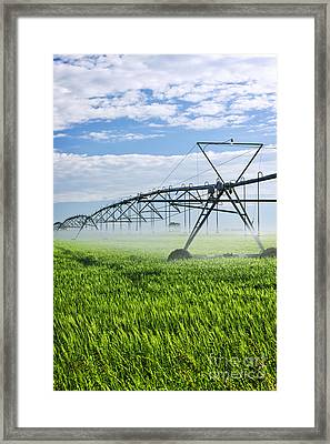 Irrigation Equipment On Farm Field Framed Print by Elena Elisseeva