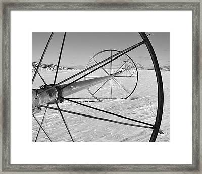 Irrigation Pipe In Winter Framed Print by Theresa Tahara