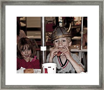Framed Print featuring the photograph Is She Adoring Her Viking Or Coveting His Lunch by Sandi Mikuse