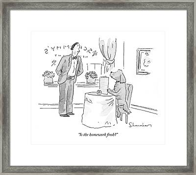 Is The Homework Fresh? Framed Print