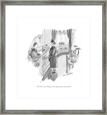 Is There Any Change In The Petits-fours Situation? Framed Print by Helen E. Hokinson