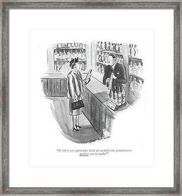 Is There Any Particular Kind Of Cocktail Framed Print by Helen E. Hokinson