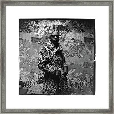 Isaac Hayes Wearing Leopard Print Framed Print by Peter Hujar