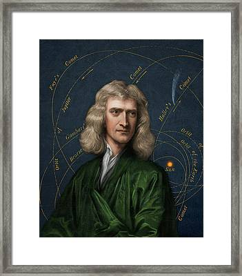 Isaac Newton And Orbital Motion Framed Print