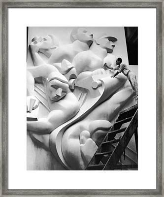 Isamu Noguchi Working Framed Print