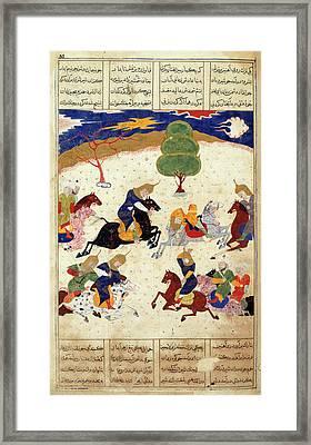 Iskandar Defeats The Russians Framed Print by British Library