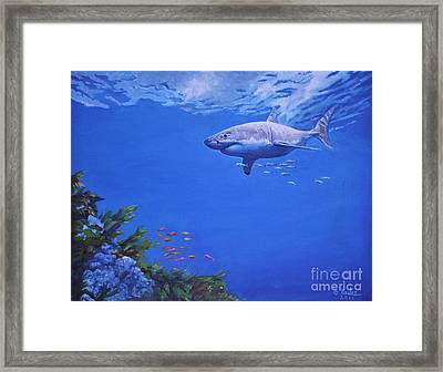 Framed Print featuring the painting Pacific Great White by Noe Peralez