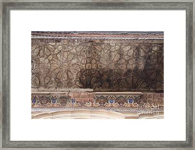 Islamic Geometrical Design On The Underside Of The Roof Of The Umar Hayat Mahal Framed Print by Murtaza Humayun Saeed