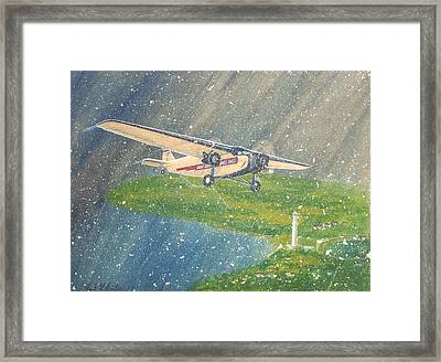 Island Airlines Ford Trimotor Over Put-in-bay In The Winter Framed Print by Frank Hunter