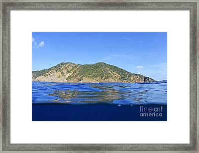Island And Water Surface Framed Print by Sami Sarkis
