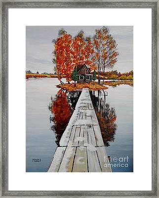 Island Cabin Framed Print by Marilyn  McNish
