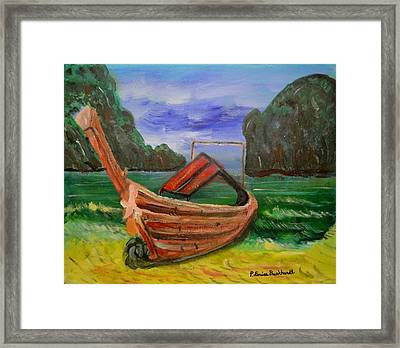 Island Canoe Framed Print by Louise Burkhardt