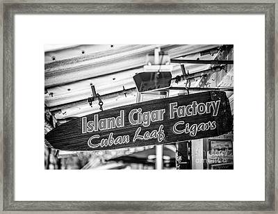 Island Cigar Factory Key West - Black And White Framed Print by Ian Monk