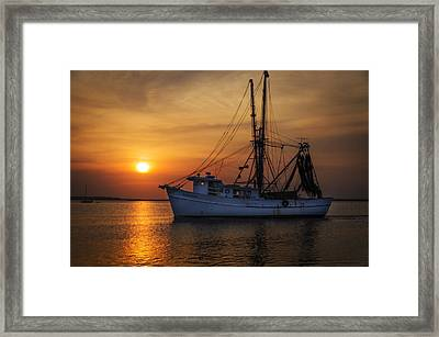 Island Girl Shrimp Boat Framed Print by  Island Sunrise and Sunsets Pieter Jordaan