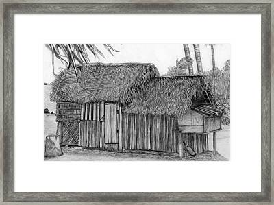 Framed Print featuring the drawing Island House 1 by Lew Davis