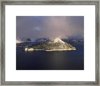 Island In A Lake, Wizard Island, Crater Framed Print