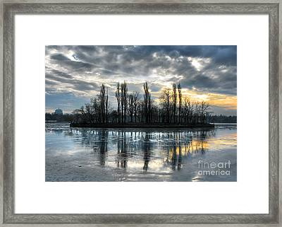 Island In Winter - Reflection Framed Print