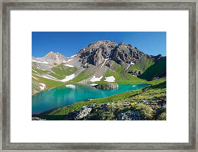 Island Lake And U.s. Grant Peak Framed Print by Aaron Spong