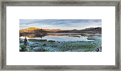 Island Lake Sunrise Framed Print by Leland D Howard