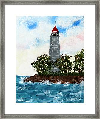 Island Lighthouse Framed Print by Barbara Griffin