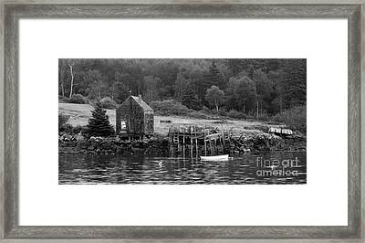 Island Shoreline In Black And White Framed Print