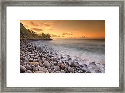 Island Sunset In Oahu Framed Print